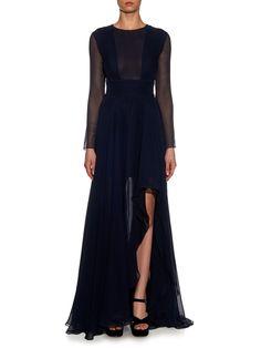 La Mania | Ellise silk-chiffon gown
