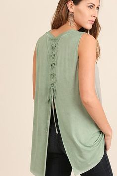 Sage Washed Lace Up Back Top (final sale)