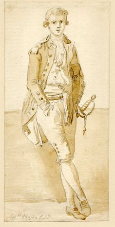 Paul Sandby, Portrait of Captain Vaughan RA; WL to front, leaning against a low wall, wearing uniform Brush drawing in brown wash, over graphite