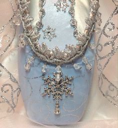 Snow Queen/ Snowflake decorated pointe shoe in blue and silver. Nutcracker Ballet. Ready to Ship.