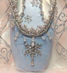 Snow Queen/ Snowflake decorated pointe shoe in door DesignsEnPointe