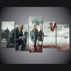 Style Your Home Today With This Amazing 5 Panel Vikings Ragnar Lodbrok Framed Wall Canvas Art For $99.00  Discover more canvas selection here http://www.octotreasures.com  If you want to create a customized canvas by printing your own pictures or photos, please contact us.
