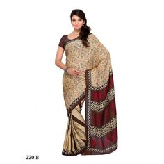Art Silk saree with ethnic weaving in beige and brown 22bdf - Online Shopping for Designer Sarees by Muhenera