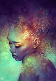 """Camouflage"" - Anna Dittmann {contemporary artist fantasy beautiful african american female head black woman face portrait}:"