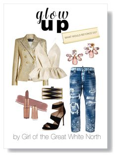 """Glow Up"" by girlofthegreatwhitenorth ❤ liked on Polyvore featuring Dsquared2, Carvela, Edie Parker, Balmain, Delpozo, Marchesa and He Said, She Said"