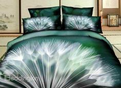 New Arrival Beautiful Dandelion Print 4 Piece Bedding Sets - Best Beautiful bedding Images Gallery King Size Bedding Sets, Cheap Bedding Sets, Cheap Bed Sheets, Cotton Bedding Sets, Bedding Sets Online, Bed Linen Sets, Comforter Sets, Bed Sets, Comforter Cover