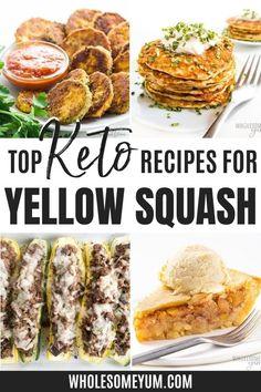 Easy Keto Yellow Squash Recipes! Yellow Squash Recipes, Low Carb Vegetables, Vegetable Recipes, Eggplant, Real Food Recipes, Sprouts, Cucumber, Cauliflower, Zucchini