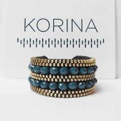 Elegant zipper bracelet This bracelet is made of nickel zipper and glass beads (petrol blue) which are all sewn by hand. The back of bracelet is genuine leather. Length: 6 in (15 cm) Width: 1.1 in (3 cm) If you have any questions about items please contact me through Etsys