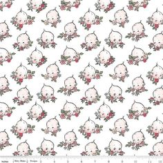 Design Floral, Kewpie, Cotton Quilting Fabric, Riley Blake, Doll Face, Clouds, Quilts, Vintage, Sewing