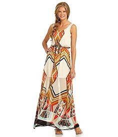 GB TribalPrinted Sleeveless Maxi Dress #Dillards