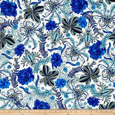Studio KM Persia Waldorf Lapis from @fabricdotcom  Designed by Studio KM for Free Spirit, this cotton print fabric features vibrant colors and fleur-de-lis that scream New Orleans. Perfect for quilting, apparel and home decor accents. Colors include white, yellow, army green and shades of blue.