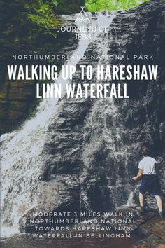 Hareshaw Linn waterfall is in Bellingham in the Northumberland national park Easy-moderate 3 mile walk to complete with kids and dogs and play in the water after your picnic or bbq! #thingstodoinnorthumberland #northumberlandnationalpark #visitingnorthumberland #hareshawlinnwaterfall
