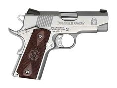 """Springfield Loaded Ultra Compact Stainless Steel 1911 Pistol - 45 ACP - 3.5"""" Bull Barrel - Stainless Finish - Thinline Cocobolo Wood Grips - Tritium Night Sights - 33 oz - (2) 6+1 Round Mags - PX9161LP"""