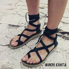 Sandalias spadrilles de tiras de piel cruzadas suela
