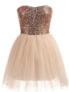 Bronze Implosion Dress: Features a subtle sweetheart neckline, glittering bronze sequin bodice, invisible side zip closure, and a super feminine ballerina skirt to finish.
