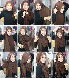 tutorial kreasi pashmina cantik with headband