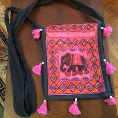 Indian elephant purse- great condition Cross body purse. Super cute and fun Indian elephant pattern with mirrors and tassels Bags Crossbody Bags