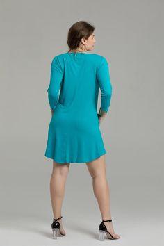16fc842a1de 3 4 Sleeve Ruffled hem Casual Swing Tunic Dresses