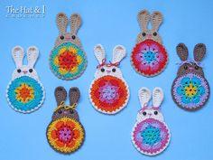 CROCHET PATTERN - Bunny in Bloom - a crochet bunny pattern, applique pattern, bunny ornament, crochet motif pattern - Instant PDF Download by TheHatandI on Etsy https://www.etsy.com/listing/183568886/crochet-pattern-bunny-in-bloom-a-crochet
