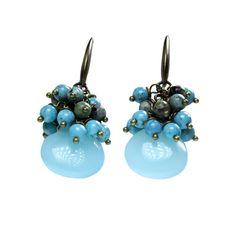 Earrings Bohemian Blue - Turquoise and Opal