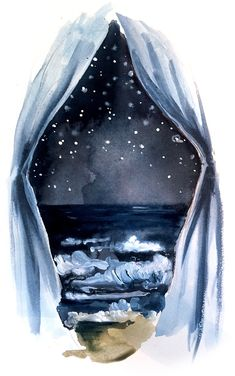 """""""When it's dark look for stars. A beautiful painting, though. look for the light in the darkest of situations Deco Kids, Dark Look, Alphonse Mucha, Oeuvre D'art, Les Oeuvres, Amazing Art, Watercolor Paintings, Watercolor Tattoos, Art Paintings"""