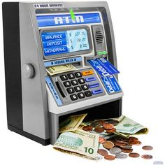 Ben Franklin Toys Kids Talking ATM Machine Savings Piggy Bank with Digital Screen, Electronic Calculator That Counts Real Money, and Safe Box for Kids, Silver Mini Things, Cool Things To Buy, Cool Stuff To Buy, Money Safe Box, Money Tin, Atm Bank, Savings Bank, Interactive Toys, Kids Boxing