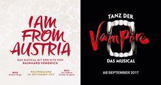 Der Vorverkauf für Herbst 2017 ist eröffnet! I AM FROM AUSTRIA im Raimund Theater und TANZ DER VAMPIRE im Ronacher. Austria, Theater, Musicals, Company Logo, Culture, Theatres, Teatro, Drama Theater, Musical Theatre