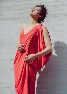 Grecian drapery by a Project Runway finalist Project Runway, Draped Dress, Drapery, Evening Dresses, Minimal, Greek, Coral, Bodycon Dress, Feminine