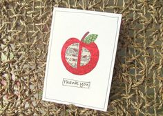 Thank you card upcycled red apple thank by PinkFlamingoCrafting, £3.00