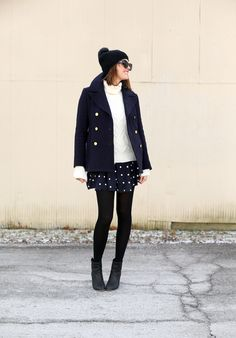 How to wear black and navy together, J.Crew Peacoat/turtleneck, Navy Winter Outfit,