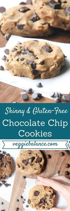 Healthy Gluten Free Chocolate Chip Cookies | Skinny, Gluten Free, The Best Gooey Chocolate Chip cookie that is healthy, no oil or butter added and low-sugar.