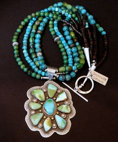 9-Stone Natural Royston Turquoise & Sterling Pendant with 4 Strands of Turquoise, Shell Heishi & Sterling