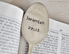 Your Life's Verse - Custom, Hand Stamped Vintage Scripture Spoon Book Mark (TM)- You Pick Your Verse. $16.00, via Etsy.
