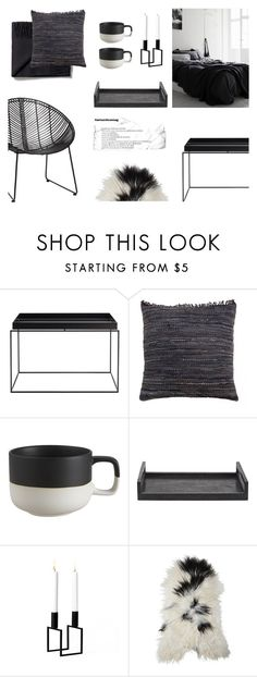 """Scandinavian Black"" by canvas-moods ❤ liked on Polyvore featuring interior, interiors, interior design, home, home decor, interior decorating, Hübsch, HAY, CB2 and Ginger Brown"