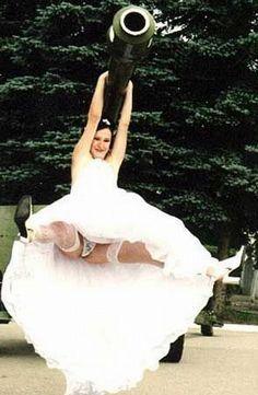 High-class weddin' fer a high-class bride.... More bad wedding photos! bahahaha