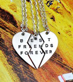 Women's Fashion Jewelry Boken Heart 3 Parts Pendant BEST FRIENDS FOREVER Best Friends Partners Friendship Good Friends Chain Necklace