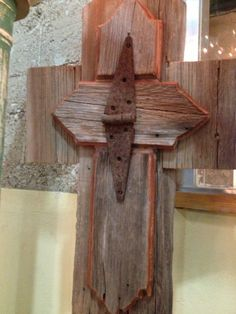 Handmade Spark Barn wood handmade cross with vintage hardware Wooden Crosses, Crosses Decor, Wall Crosses, Barn Wood Crafts, Old Barn Wood, Rustic Wood, Pallet Cross, Clothespin Cross, Old Wood Projects