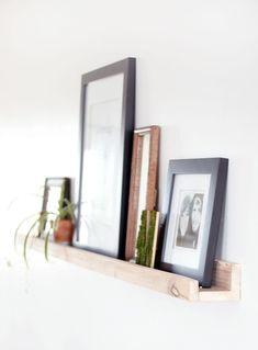 cute home decor DIY Picture Ledge - Brian project! Romantic Home Decor, Cute Home Decor, Inexpensive Home Decor, Cheap Home Decor, Diy Interior, Do It Yourself Regal, Picture Ledge, Photo Ledge, Beautiful Houses Interior