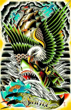 Title: Survive Artist: Tyler Bredeweg An eagle attacks a shark. In the background a ship fights off seas full of storms. Tyler J. Bredeweg studied at California's Laguna College of Art and Design. A r