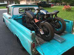 Zero Cool Customs 66 GMC Short bed, 78 XS650 bobber, 80 XS650 cafe Bagged Trucks, Gm Trucks, Pickup Trucks, Xs650 Bobber, Scrambler Motorcycle, 67 72 Chevy Truck, Chevy Trucks, Glitch Wallpaper, Tuner Cars