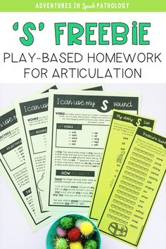 Do you need some fun, new articulation activities for the 's' sound to send for homework? These FREE parent-friendly handouts can help families practice their child's speech sound and practice what they learn in speech therapy Articulation Therapy, Articulation Activities, Vocabulary Activities, Speech Language Pathology, Speech Therapy Activities, Speech And Language, Language Activities, Speech Delay, Play Therapy Techniques