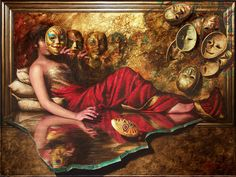 """Imagination: """"PLAYING WITH MASKS"""" Oil on Canvas. 45 x 66 inches Price: On Request"""