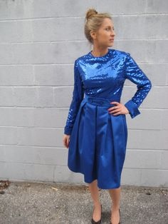 AMAZING blue SEQUINED vintage new old stock by myrtledovelove, $100.00
