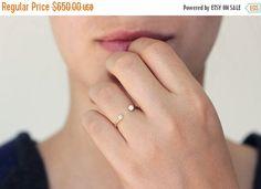 ON SALE Dual Stone Ring - Diamond Wedding Ring - Horseshoe Ring - 18k Gold