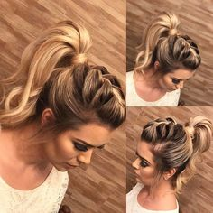 Cute Ponytail Hairstyles for Beautiful Women There are many choices of ponytail hairstyles that can be tried to enhance your appearance. From cute ponytails to high or low ponytail hairstyles, they can look messy, elegant and smooth. Add a fe… High Ponytail Braid, Cute Ponytails, Cute Updos Easy, Mohawk Ponytail, Fancy Ponytail, Voluminous Ponytail, Top Braid, High Ponytails, Braided Hairstyles Updo