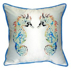 Betsy Drake Betsy's Seahorses 22-inch x 22-inch Throw Pillow