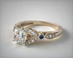 0ecf04be2 Floral-Side-Stone & Sapphire Accent Engagement Ring in 2.2mm 18K Yellow Gold  (Setting Price)