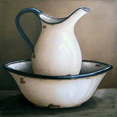 White Jug and Basin - Katie 300 x 300 (sold) Painting Still Life, Still Life Art, Foto Transfer Potch, Protea Art, Vintage Enamelware, Kitchen Art, Still Life Photography, Pictures To Paint, Lovers Art