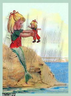 OOAK MERBABY Quilt Fabric Block Baby Mermaid by QUILTFABRICBLOCKS, $6.00