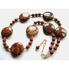 SALE 20% OFF, Red River Jasper Boho Necklace, Unique Natural Stone,... (€55) ❤ liked on Polyvore featuring jewelry, necklaces, gold filled necklace, natural stone jewelry, 14k necklace, 14k gold filled jewelry and boho necklace